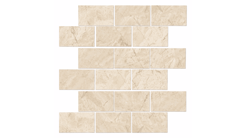 Queen Beige Polished Amalfi Marble Mosaic Tile 12x12 In